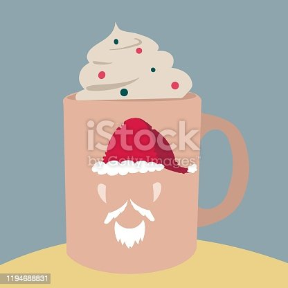 Santa claus cup and whipped cream. Christmas food. Christmas decoration.