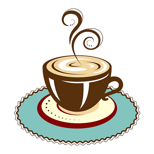 Hot Cup of Coffee with Coaster vector art illustration
