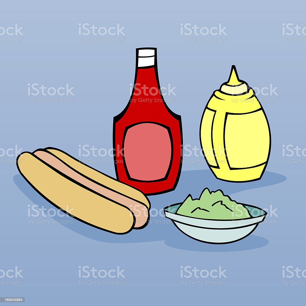 Hot Dog Condiments vector art illustration