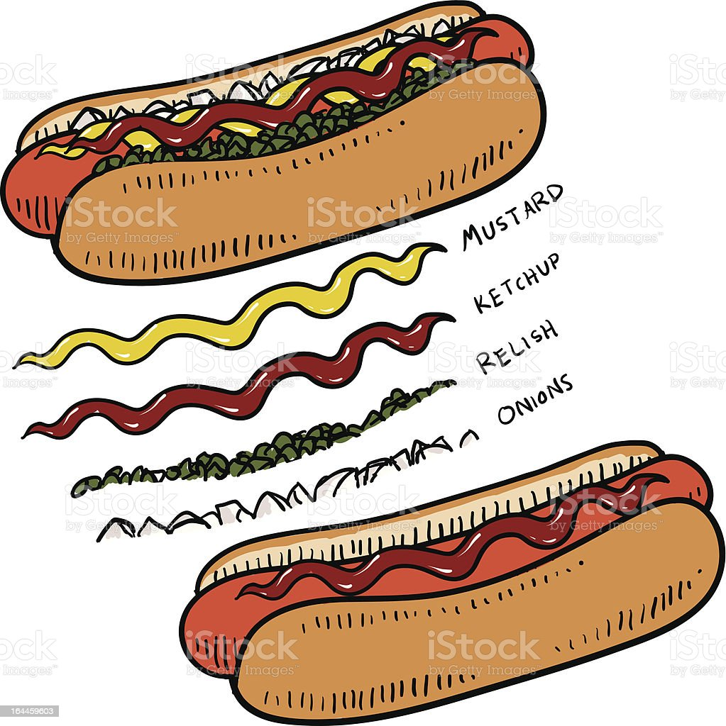 Hot dog with bun and condiments sketch royalty-free stock vector art