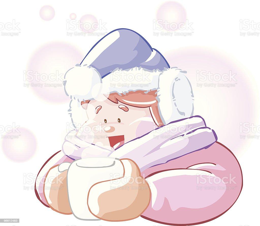 Hot drink on cold day - Royaltyfri Barn vektorgrafik