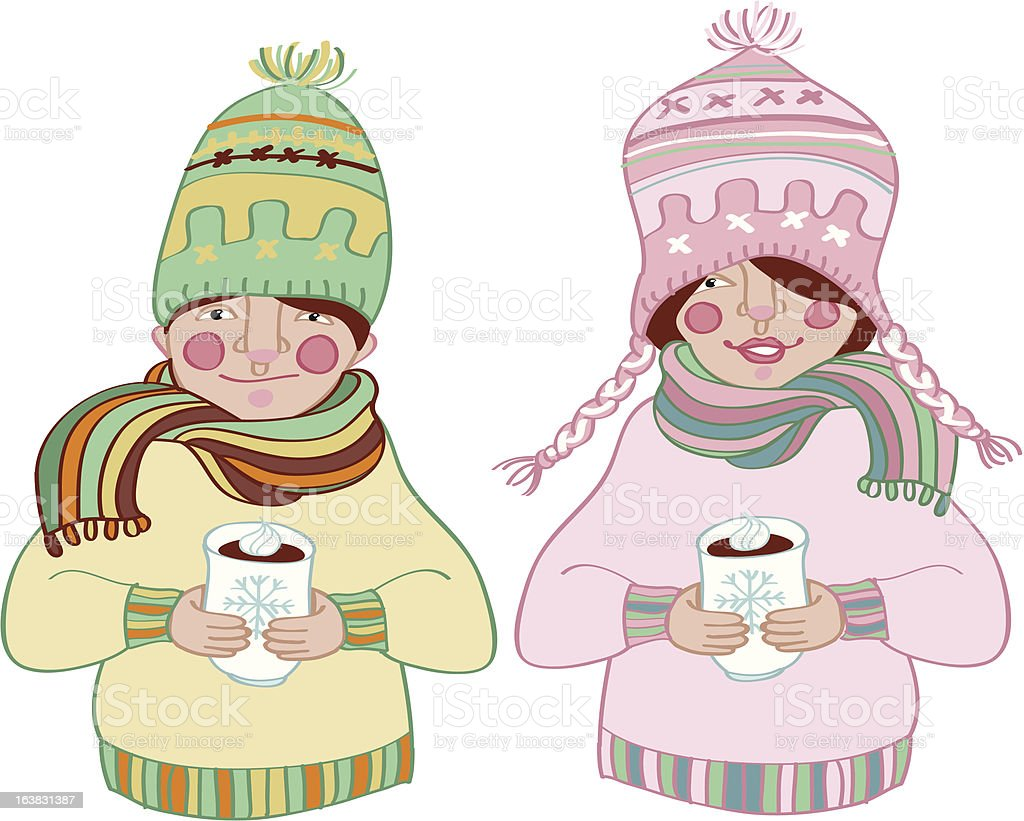 Hot drinks for best friends royalty-free stock vector art