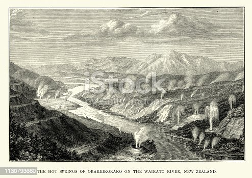 Vintage engraving of Hot springs of Orakei Korako, New Zealand, 19th Century. Orakei Korako (Maori for The Place of Adorning), is a highly active geothermal area most notable for its series of fault-stepped sinter terraces, located in a valley north of Taupo on the banks of the Waikato River in the Taupo Volcanic Zone, New Zealand.
