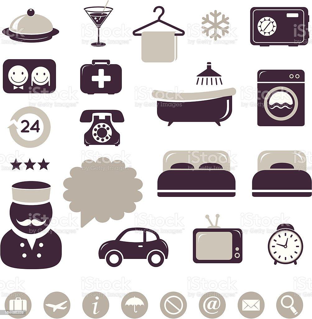 Hotel icons set royalty-free stock vector art