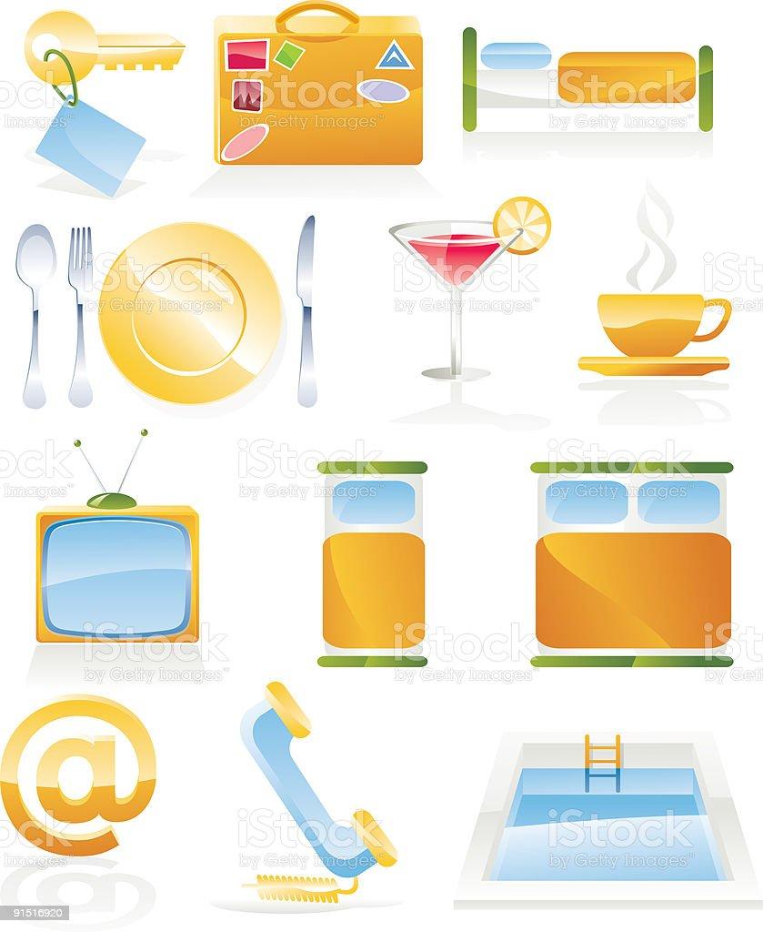 Hotel service icon set vector art illustration
