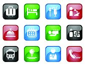 Hotel Themed Computer Icons with Glossy Effect
