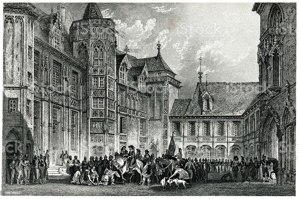Hotel-De-Ville, Bourges royalty-free stock vector art