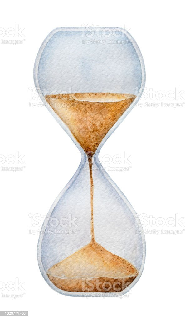 Hourglass Timer With Trickling Golden Sand One Single Object Symbol