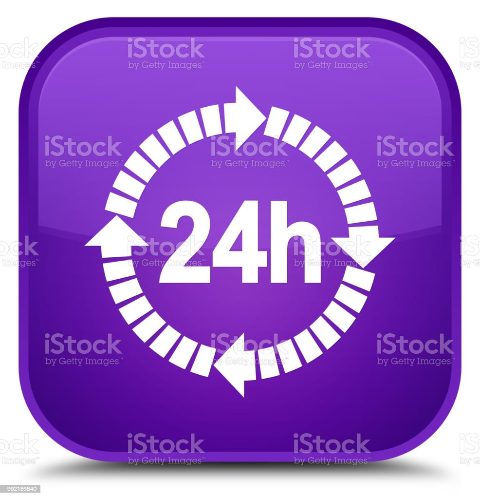 24 hours delivery icon special purple square button vector art illustration