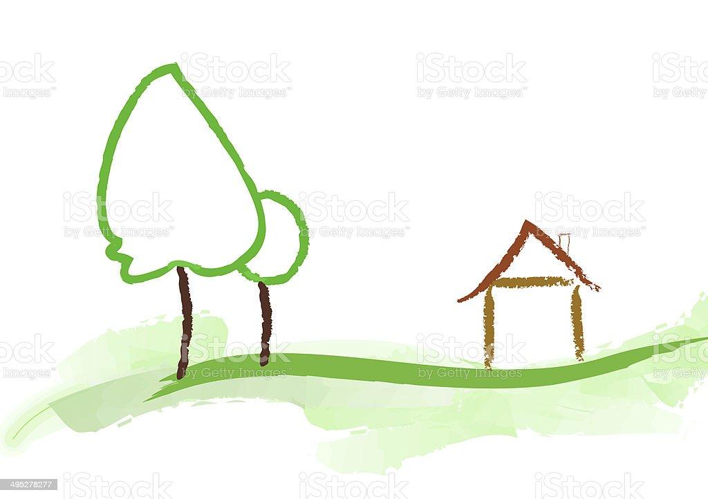 house and garden vector art illustration