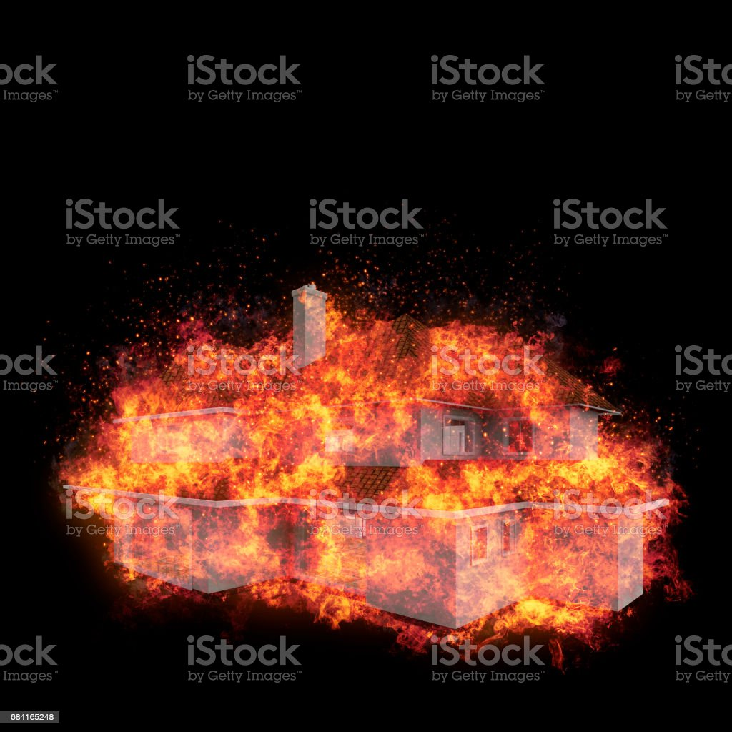 House bursted into flames against the black background. Real estate concept. 3d royalty-free house bursted into flames against the black background real estate concept 3d stock vector art & more images of accidents and disasters
