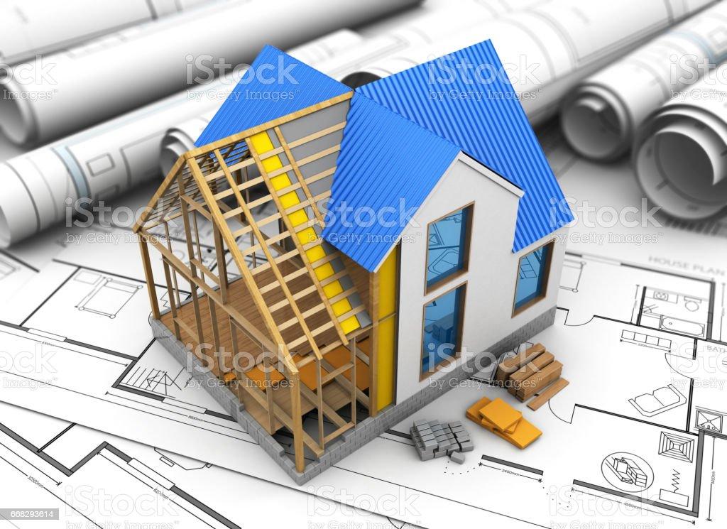 Construcción de la casa - ilustración de arte vectorial