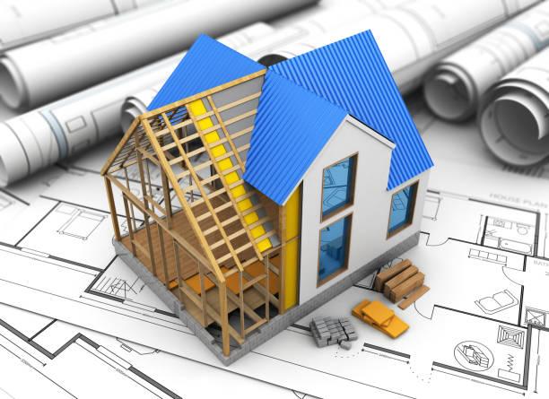 ilustraciones, imágenes clip art, dibujos animados e iconos de stock de construcción de la casa - nueva casa