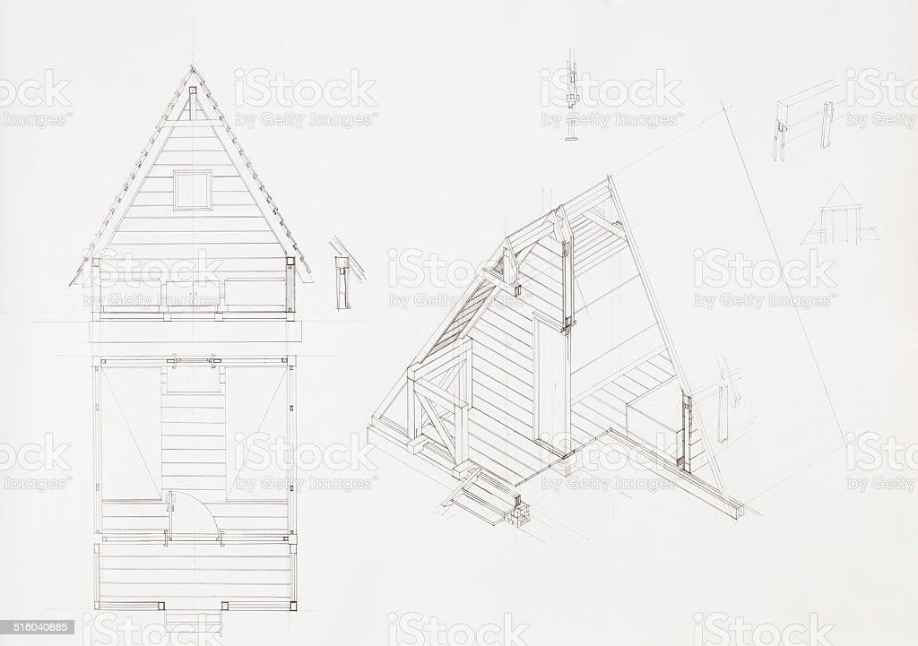 house design and floorplan vector art illustration