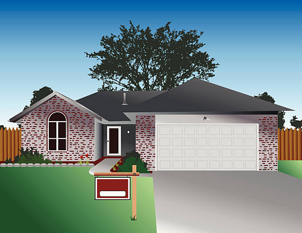 house for sale vector art illustration