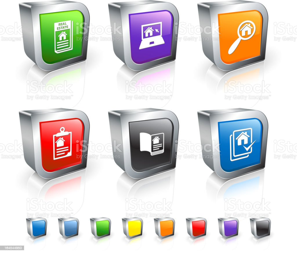 House Hunting 3D vector icon set with Metal Rim royalty-free stock vector art