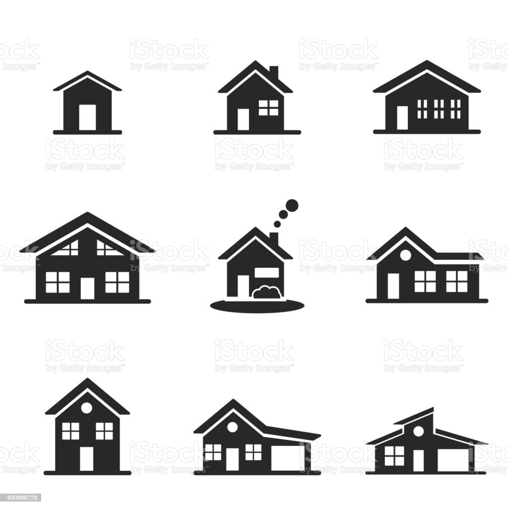 Maison jeu dicônes ligne design dicône de style interface utilisateur