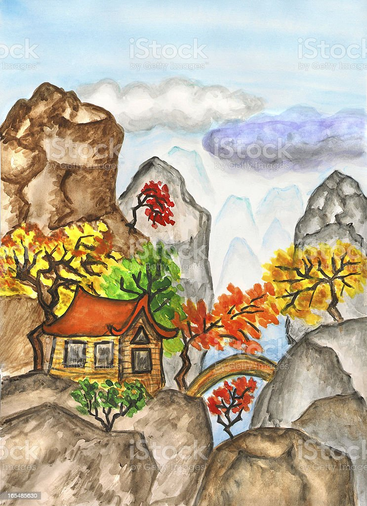 House in China, painting royalty-free house in china painting stock vector art & more images of art