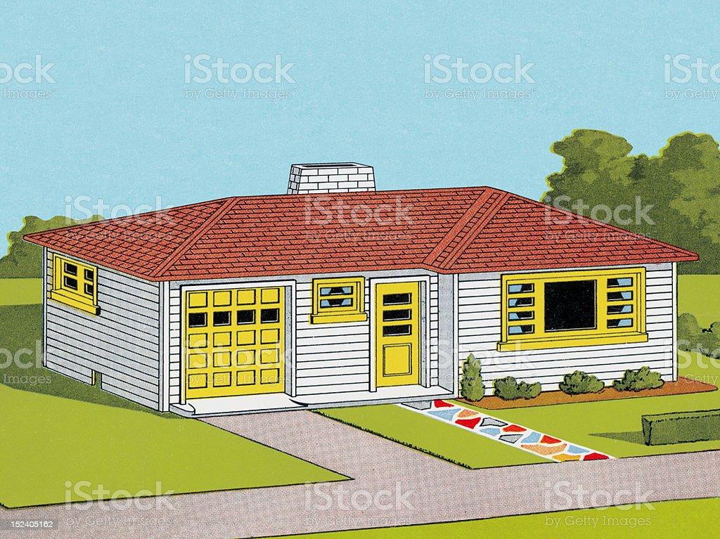 House in the Suburbs vector art illustration