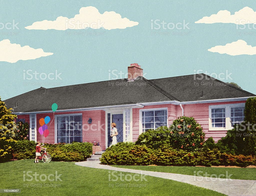 House in the Suburbs royalty-free stock vector art