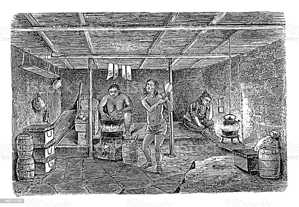 House in Tunu, Greenland (antique wood engraving) royalty-free stock vector art