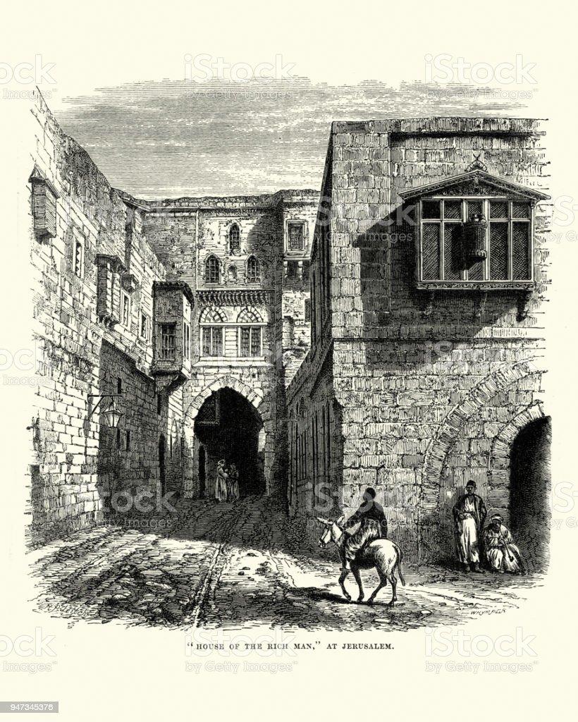 House of the Rich Man, Jerusalem, 19th Century vector art illustration