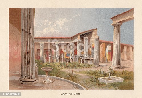 House of the Vettier (Italian: Casa dei Vettii) is the modern name of a dwelling house of a wealthy family of merchants in ancient Pompeii, which was preserved by the eruption of Vesuvius in 79 AD. Inside there are significant murals. Chromolithograph, published in 1896.