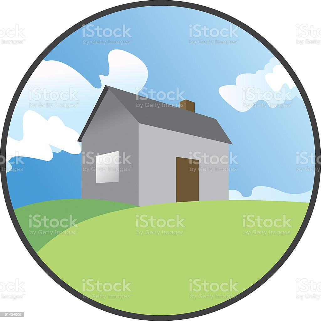 land for sale clipart. house on a hill vector art illustration land for sale clipart