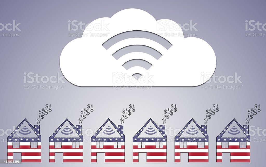 House Shape with Dollar Smoke and Cloud Computing vector art illustration