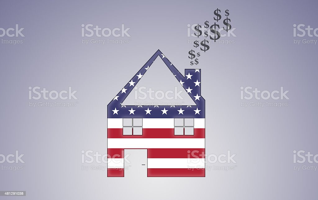 US House Shape with Dollar Smoke vector art illustration