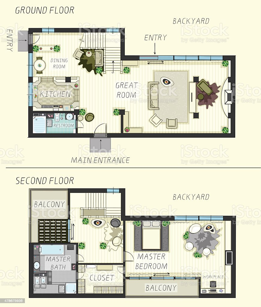 Lovely Haus Plan Erdgeschoss Und 2. Etage Lizenzfreies Hausplan Erdgeschoss Und 2  Etage Stock Vektor