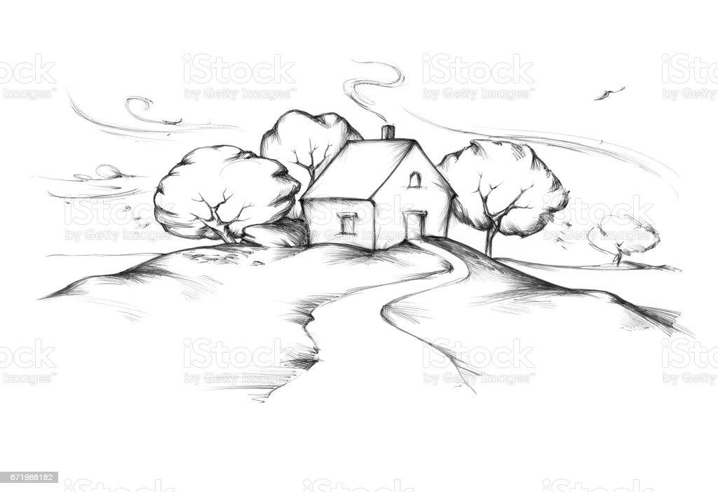 Haus mit Garten im Herbst – Vektorgrafik