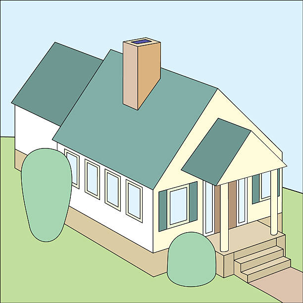 House with porch.eps vector art illustration