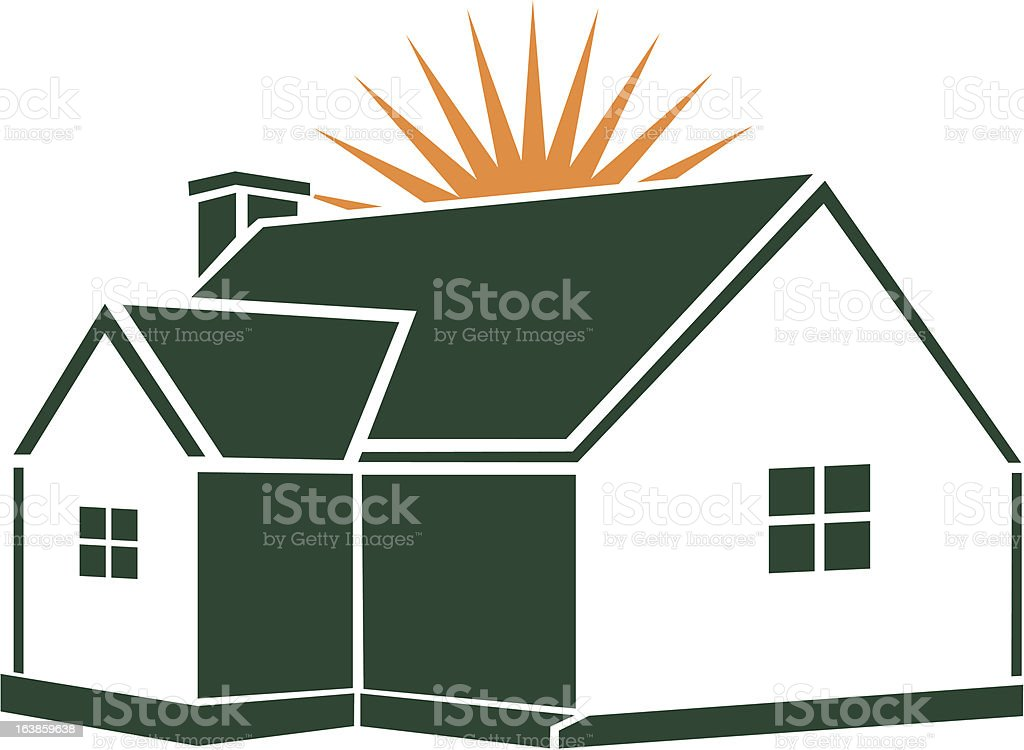 House with sunstar royalty-free stock vector art