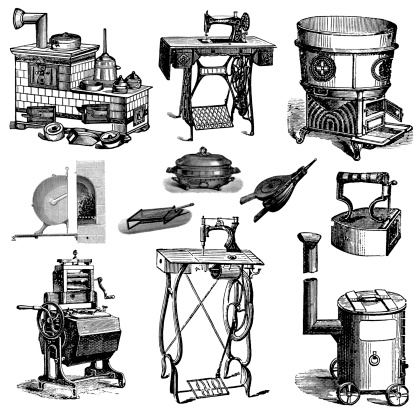 Household Equipment and Machines for Laundry, Oven, Stove, Sewing Etc