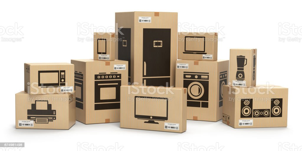 Household kitchen appliances and home electronics in boxes vector art illustration