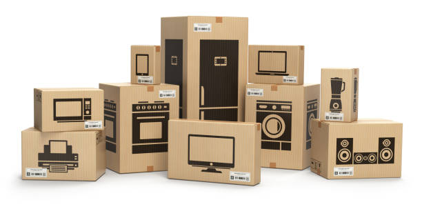 household kitchen appliances and home electronics in boxes - electronics stock illustrations, clip art, cartoons, & icons