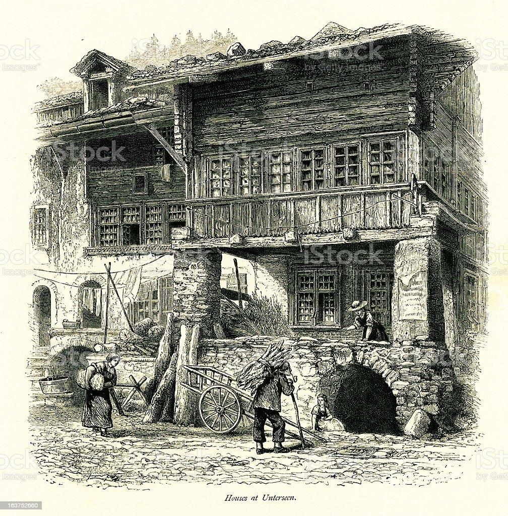 Houses at Unterseen, Switzerland I Antique European Illustrations vector art illustration