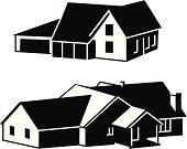 Semi-silhouette houses.