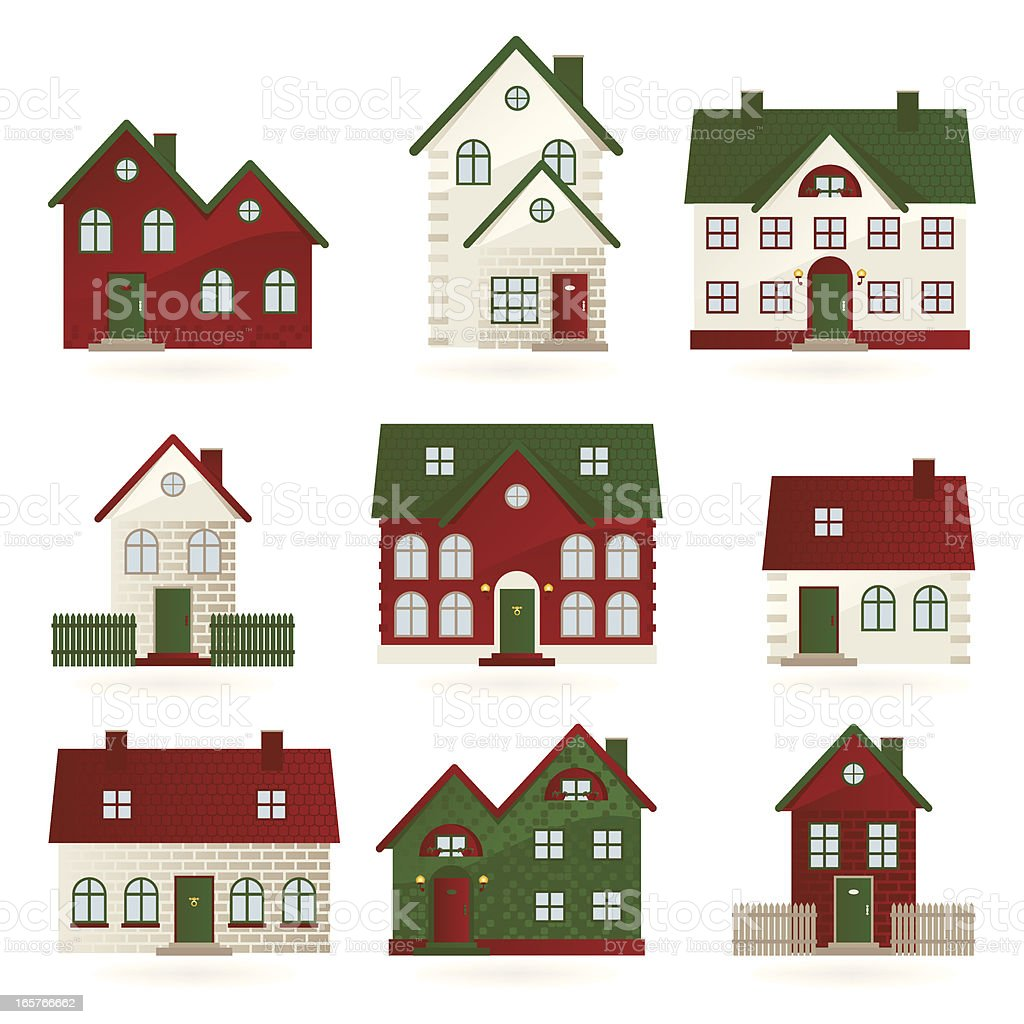 Houses in different architectural styles stock vector art for Different building styles