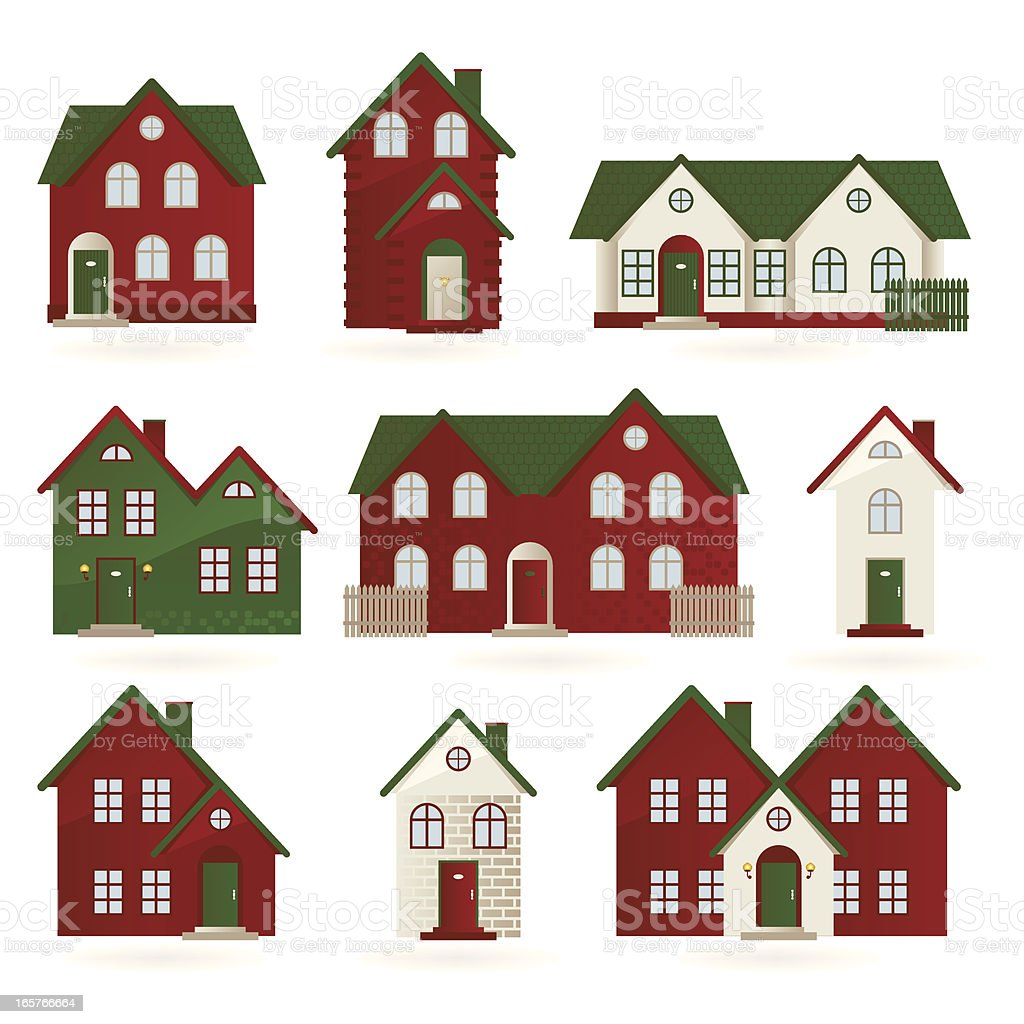 Houses in different architectural styles royalty-free stock vector art