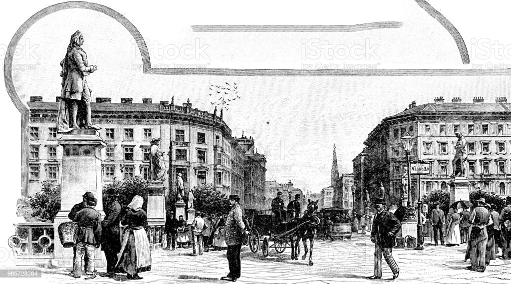 Houses in the city, Vienna - austria, Elisabethbrücke - Royalty-free 1890-1899 stock illustration