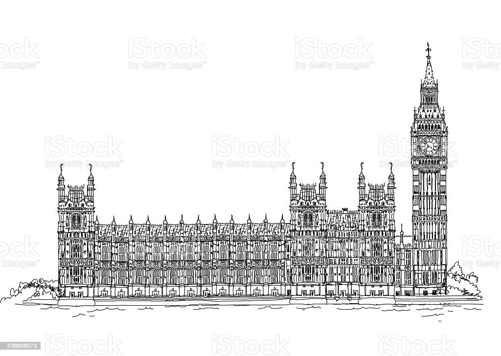 Houses of parliament  and Big Ben, London. Sketch collection vector art illustration