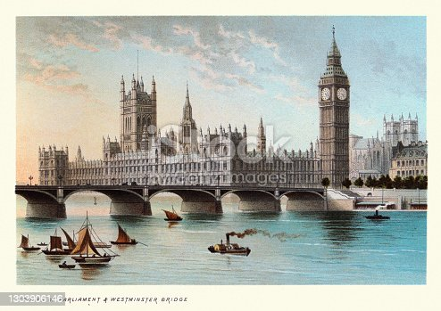 Vintage illustration of Houses of Parliament and Westminster Bridge, Victorian London Landmarks, 19th Century