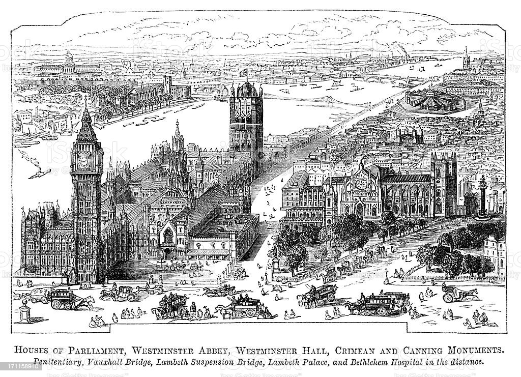 Houses of Parliament, Westminster Abbey and Millbank Penitentiary (1871 engraving) royalty-free stock vector art