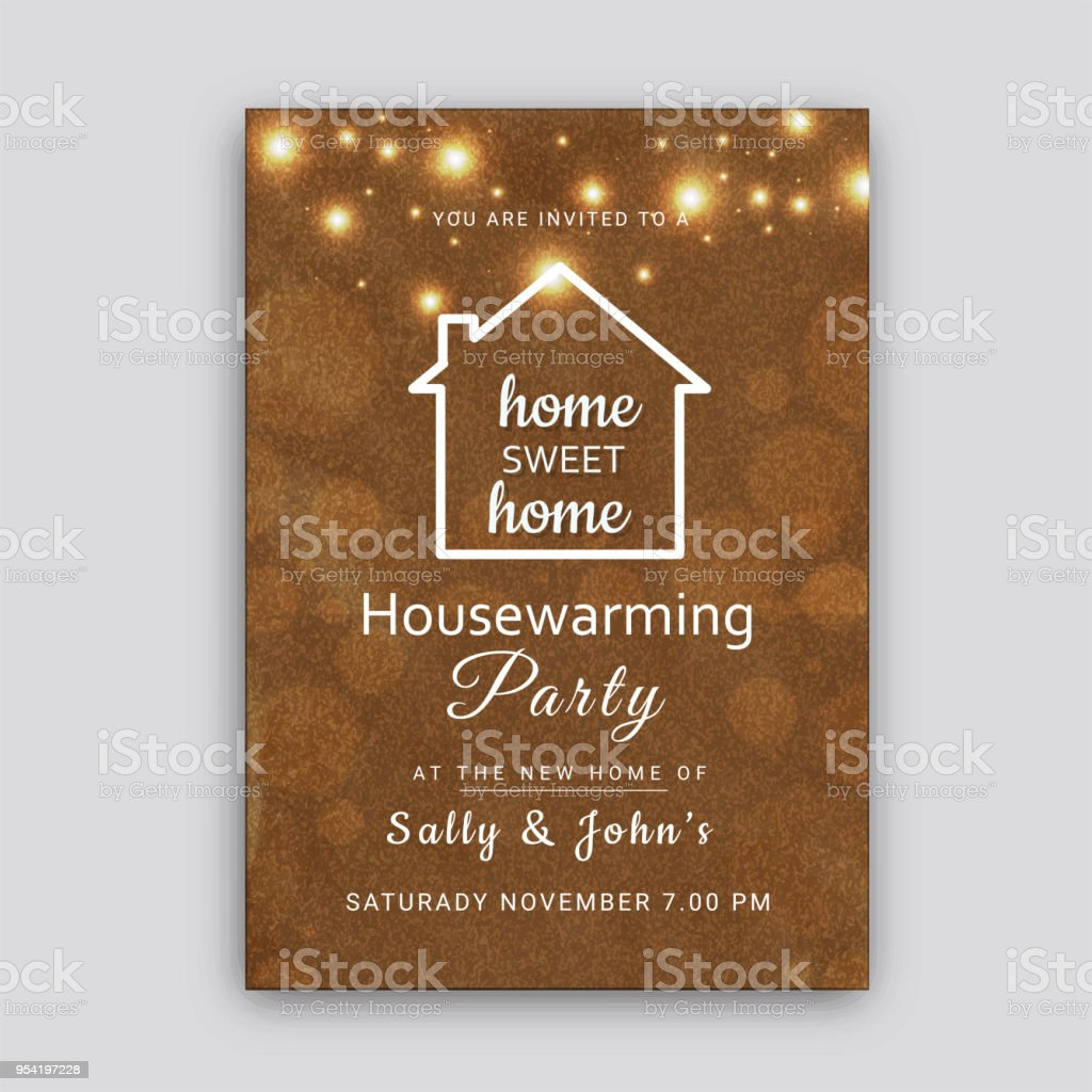 Housewarming Party Invitation Card Design Royalty Free Stock Vector
