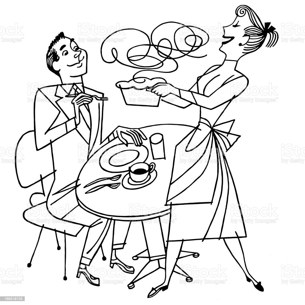 Housewife Bringing Dinner to Her Husband royalty-free stock vector art