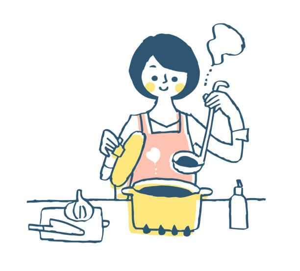 キッチンで主婦料理 - 主婦 日本人点のイラスト素材/クリップアート素材/マンガ素材/アイコン素材