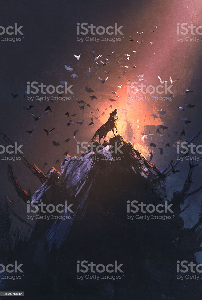 howling wolf on rock with bird flying around vector art illustration