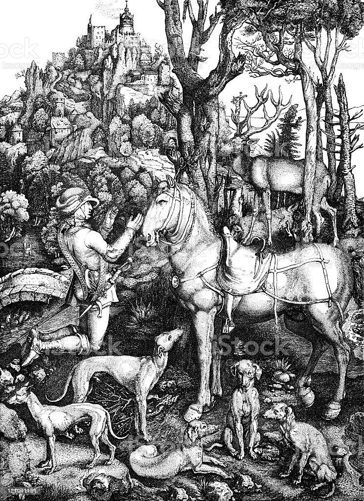 Hubert, Patron Saint of Hunters, by Albrecht Durer vector art illustration